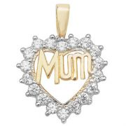 9ct Gold Mum in cubic zirconia heart Pendant 1.5g